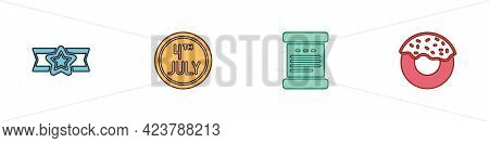 Set Star American Military, Calendar With Date July 4, Declaration Of Independence And Donut Icon. V