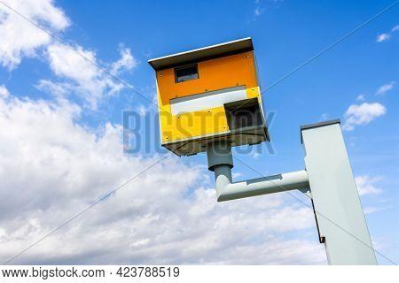 Radar speed camera in the uk against blue sky background