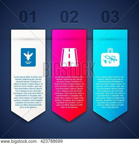 Set Passport, Airport Runway And Suitcase. Business Infographic Template. Vector