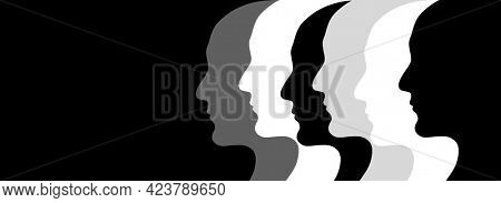 Together we are stronger. Horizontal banner with abstract humans profiles of different colors. Concept - multicultural social unity of people of different races. Copy space for text