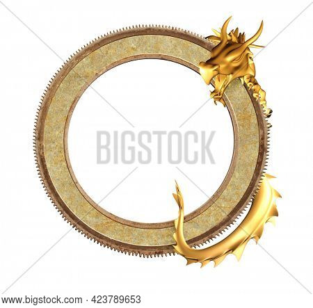 Vintage information board with oriental dragon. Golden dragon and round ancient metal frame. Object isolated on white background. Mock up template. Copy space for text. 3d render