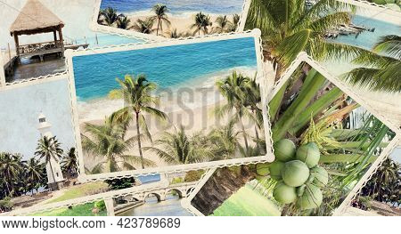 Vintage travel background with retro photos. Horizontal banner with paper texture and old photos of palm, sand beach, ocean waves, lighthouse. 3d render