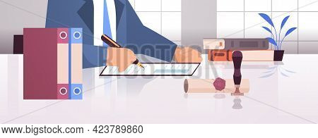 Notary Signing And Legalization Documents Stamping Legal Document Lawyer Office Interior Closeup Por