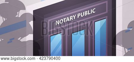 Notary Public Office Door In Government Building Signing And Legalization Documents Concept