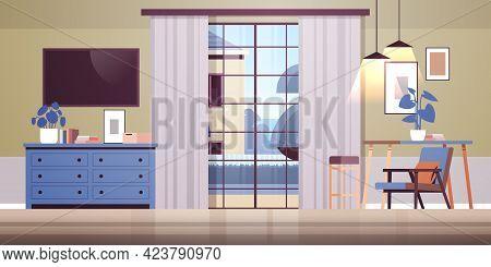 Living Room Interior Empty No People Home Modern Apartment Design Flat Horizontal