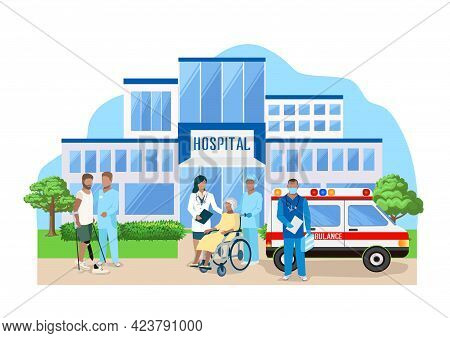 Doctors And Patients In Front Of A Modern Hospital Building. Thanks To The Doctors And Nurses. Vecto