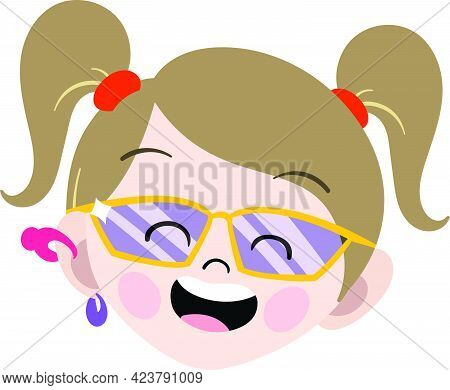 Cute Blonde Girl Child Face. Smart And Adorable Girl Child With Blonde Hair. Cute Face With Innocent