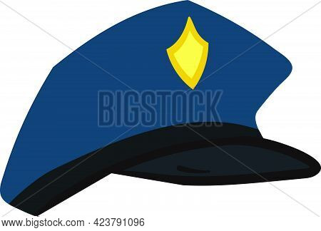 Police Hat Vector Isolated On White Background. Children Book Illustration Graphics. Uniform Of Poli