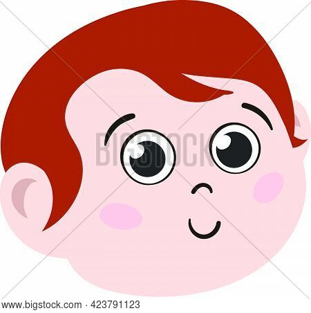 Cute Redhead Kid Face. Cute And Adorable Boy Child With Red Hair. Cute Face With Innocent Expression