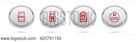 Set Line Bag Of Food For Pet, Medicine Bottle And Pills, Clinical Record And Dog Collar. Silver Circ