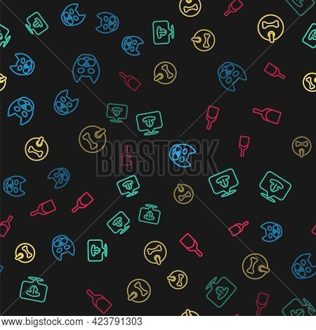 Set Line Cat, Nose, Dog Collar And Dustpan On Seamless Pattern. Vector