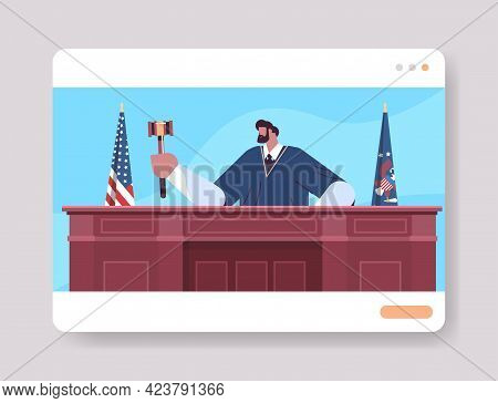Judge Lawyer Procurator In Uniform With Gavel Sitting At Workplace Online Court Session Law Process