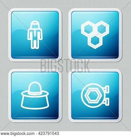 Set Line Beekeeper With Protect Hat, Honeycomb, And Hanging Sign Honeycomb Icon. Vector