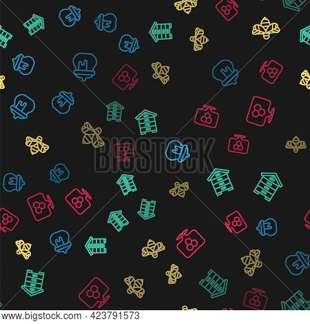 Set Line Jar Of Honey, Hive For Bees, Bee And Honeycomb Location On Seamless Pattern. Vector
