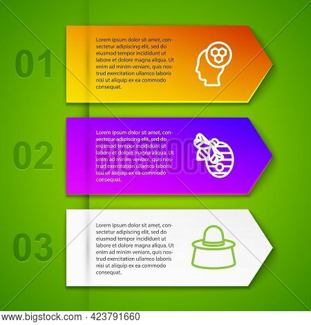Set Line Beekeeper, Hive For Bees And With Protect Hat. Business Infographic Template. Vector