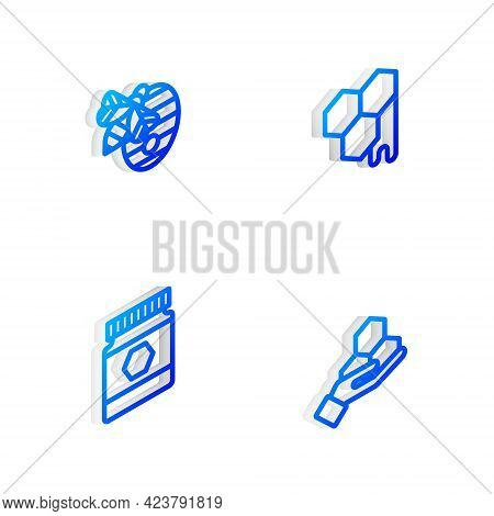 Set Isometric Line Honeycomb, Hive For Bees, Jar Of Honey And And Hand Icon. Vector