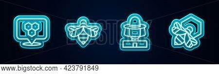Set Line Honeycomb Bee Location, Bee, Beekeeper With Protect Hat And And Honeycomb. Glowing Neon Ico
