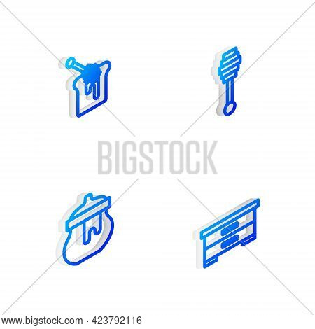 Set Isometric Line Honey Dipper Stick, With Honey, Jar Of And Hive For Bees Icon. Vector