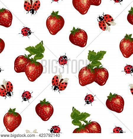 Pattern With Strawberries And Ladybirds.ladybugs And Ripe Strawberries On A White Background In A Ve
