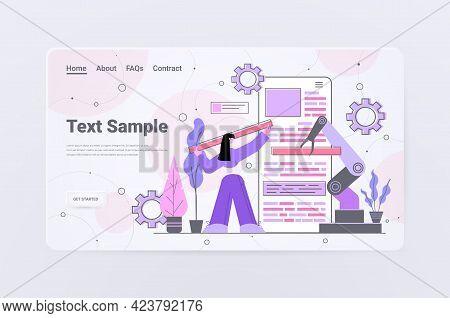 Woman Developer With Robotic Hand Creating Mobile Website Ui Web Application Development Program Sof