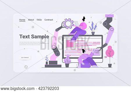 Developers Team With Robotic Hands Creating Website Ui Web Application Development Program Software