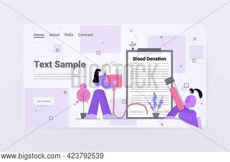 Volunteers Donating Blood In Hospital World Donor Day Blood Donation Concept Horizontal