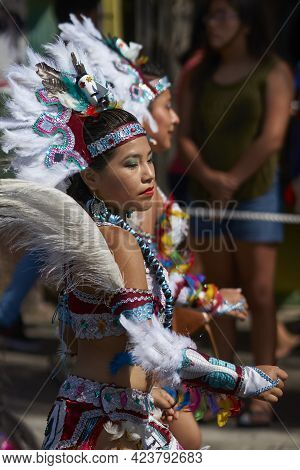 Arica, Chile - January 23, 2016: Tobas Dancers In Traditional Andean Costume Performing At The Annua