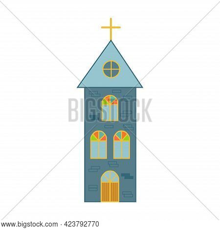Church With Stained Glass Windows. Christian Church Vintage.