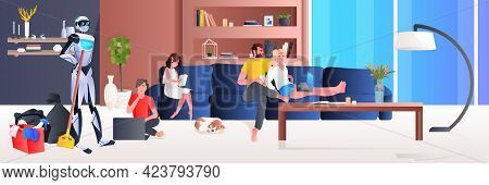 Robot Cleaner Robotic Janitor With Equipment Cleaning Living Room Family Relaxing At Home Artificial