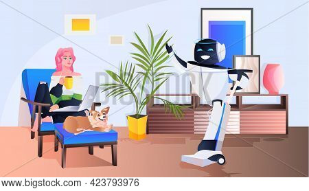 Woman Controlling Robotic Janitor With Vacuum Cleaner Artificial Intelligence Technology Concept