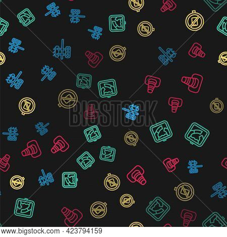 Set Line Traffic Light, Drawbridge Ahead, No Cell Phone And Cone On Seamless Pattern. Vector