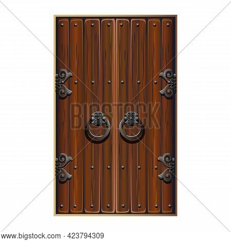Antique Fabulous Door With Forged Handles. Double-leaf Wooden Door With Metal Decorations. A Fabulou