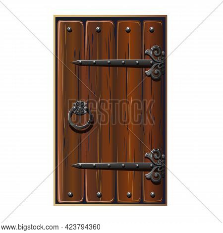 Old Fairytale Door With Forged Handles. Antique Door With Forged Metal Jewelry. Vector Illustration