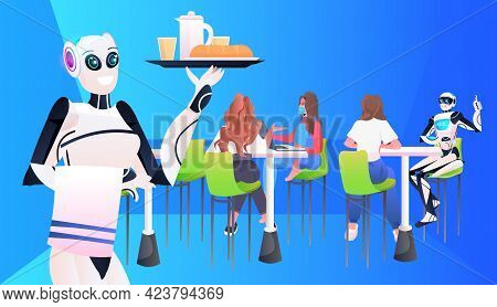 Modern Robot Waiter Serving Food To Visitors In Restaurant Artificial Intelligence Technology Concep