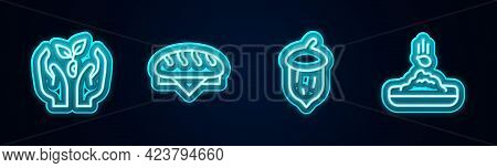 Set Line Plant In Hand, Bread Loaf, Acorn, Oak Nut, Seed And Seed. Glowing Neon Icon. Vector