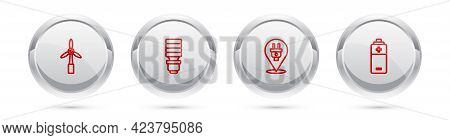 Set Line Wind Turbine, Led Light Bulb, Electric Plug And Battery. Silver Circle Button. Vector