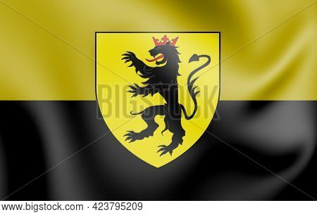 3d Flag Of Andenne (namur Province), Belgium. 3d Illustration.