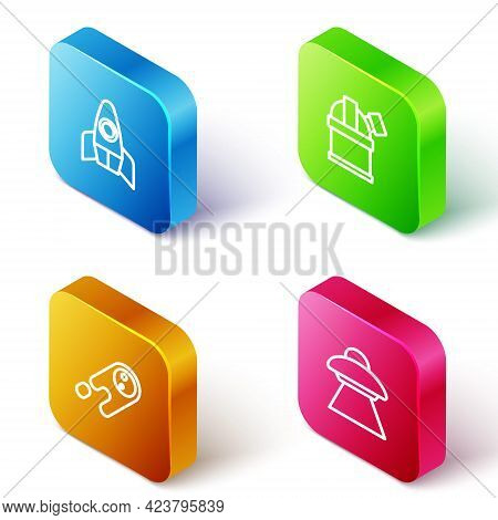 Set Isometric Line Rocket Ship, Astronomical Observatory, Comet Falling Down Fast And Ufo Flying Spa