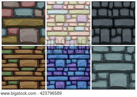 Cobble Stones Seamless Texture, Multicolored Roads Pattern For Wallpaper.