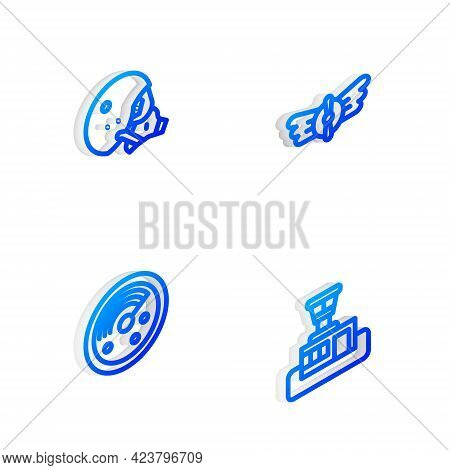 Set Isometric Line Aviation Emblem, Modern Pilot Helmet, Radar With Targets Monitor And Airport Cont