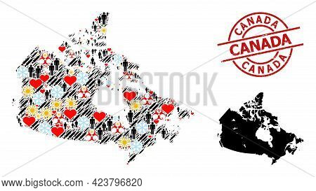 Rubber Canada Stamp Seal, And Frost Population Inoculation Collage Map Of Canada. Red Round Seal Con