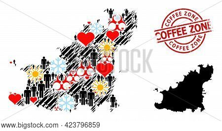 Distress Coffee Zone Stamp Seal, And Heart Demographics Virus Therapy Mosaic Map Of Guernsey Island.