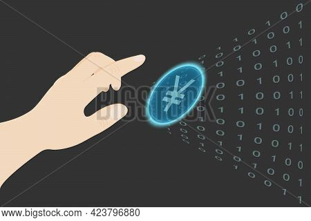 A Human Hand Reaches For The Virtual Chinese Yuan. Illustration With Blue Chinese Yuan For Any Desig