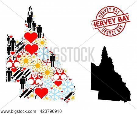 Scratched Hervey Bay Stamp Seal, And Heart Man Covid-2019 Treatment Mosaic Map Of Australian Queensl
