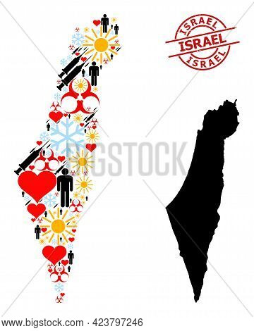 Rubber Israel Stamp Seal, And Spring Man Covid-2019 Treatment Mosaic Map Of Israel. Red Round Stamp