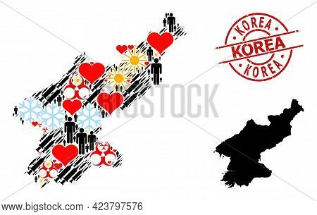 Textured Korea Stamp Seal, And Lovely Humans Covid-2019 Treatment Collage Map Of North Korea. Red Ro