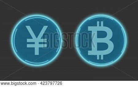 Cryptocurrency Chinese Yuan And Bitcoin In Blue On A Gray Background. Digital Currency Symbols. Glob