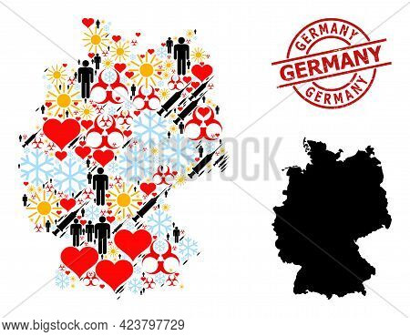 Distress Germany Stamp Seal, And Sunny Men Inoculation Collage Map Of Germany. Red Round Stamp Seal