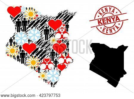 Rubber Kenya Stamp Seal, And Lovely Patients Infection Treatment Collage Map Of Kenya. Red Round Sta