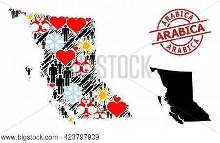 Textured Arabica Stamp Seal, And Sunny Demographics Inoculation Mosaic Map Of British Columbia Provi